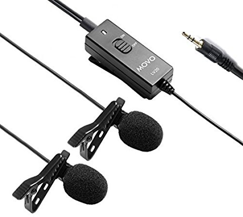 Movo Dual Capsule Lavalier Clip-on Omnidirectional Microphone for Canon EOS 1D-X MK I and II, 5D MK I, II, III, 5DS R, 6D, 7D MK I+II, 60D, 70D, Digital Rebel - Capsule Lavalier