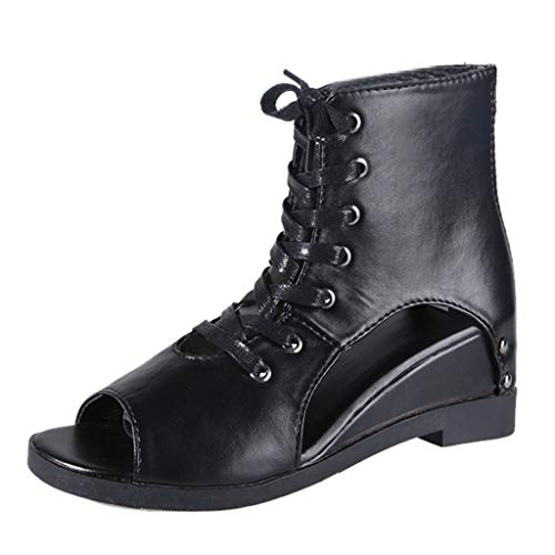 8033489f6975 BESSKY Women Front Lace-Up British Wind Wedge Heel Fish Mouth Roman Shoes  Casual Shoes