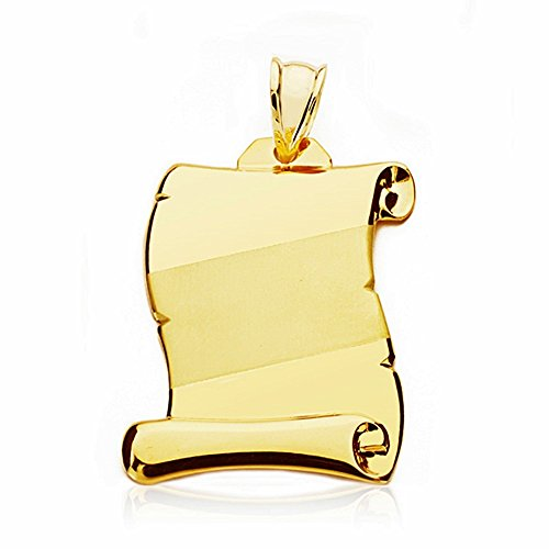 Parchemin pendentif 28mm 18k bande d'or. [AA2458]