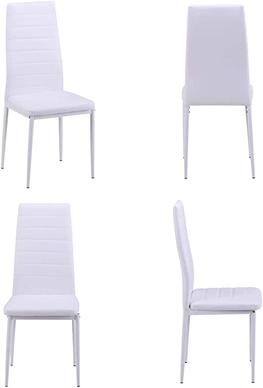 4//6PC Dining Chairs High Back Faux Leather Padded Seat Dining Room Furniture