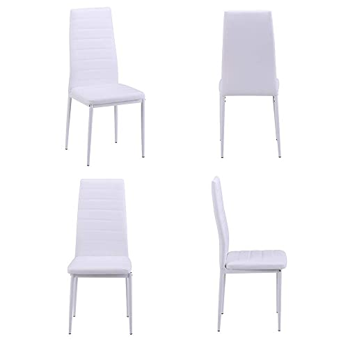 Romatlink Kitchen Dining Chairs Set of 4 White Home Chairs PU Leather Elegant Design High Back Furniture Faux Leather Padded Chairs Modern Leather Kitchen Dining Chairs White