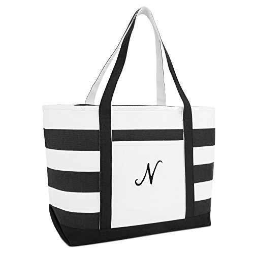 DALIX Striped Beach Bag Tote Bags Satchel Personalized Black Ballent Letter N ()
