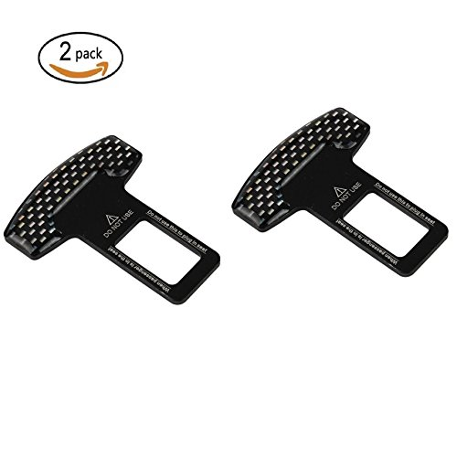 Seat Belt Buckle Lock (Betan Universal Vehicle Mounted Carbon Fiber Black Spun Car Safety Seat Belt Buckle Clip,Noise Eliminating Tool (pack of 2))