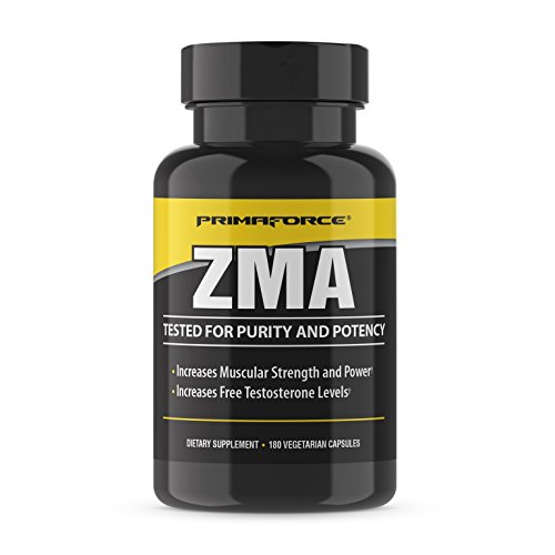 PrimaForce ZMA Supplement, 180 Capsules – Increases Muscular Strength and Power / Increases Free Testosterone Levels