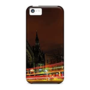 For LastMemory Iphone Protective Case, High Quality For Iphone 5c City Church At Night Traffic Skin Case Cover