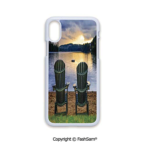 Fashion Printed Phone Case Compatible with iPhone X Black Edge Two Wooden Chairs on Relaxing Lakeside at Sunset Algonquin Provincial Park Canada 2D Print Hard Plastic Phone ()