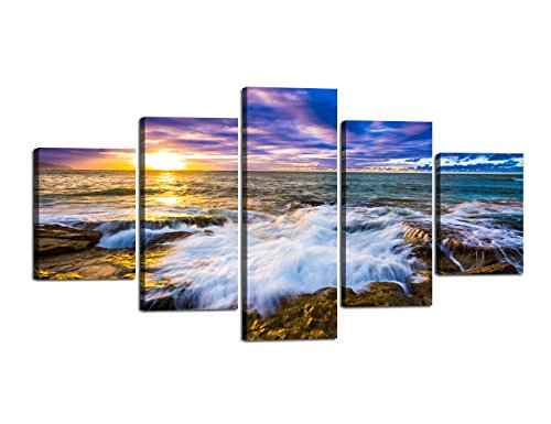 Home Decor Wall Pictures for Living Room Bed Room Office Artwork Canvas Printed Modern Landscape Beach Ocean Painting Posters and Prints Gallery-wrapped 5 Piece Set Framed Stretched (60''W x 32''H)