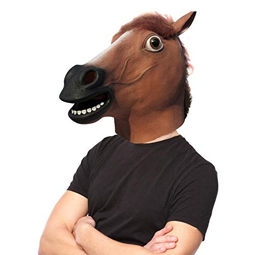 Lubber Horse Head Latex Toy Animal Head Mask for Halloween Costume]()