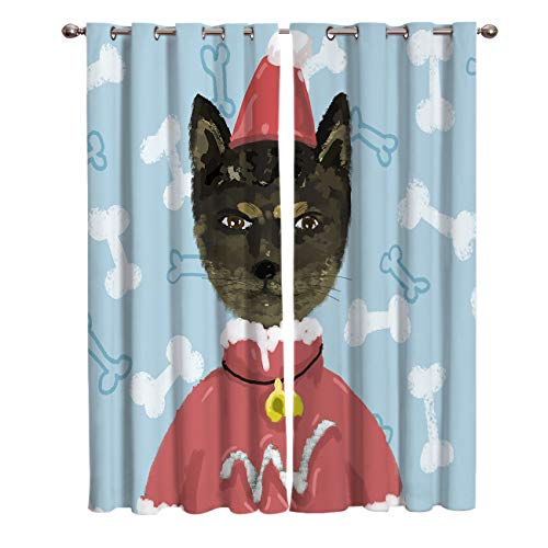 Blackout Window Kitchen Curtains Drapes, 2 Panels Set Window Treatment for Living Room/Bedroom/Office/Cafe, Watercolor Cat wear Christmas Costum Pattern 104W by 90L inch]()