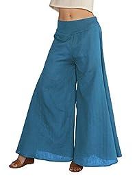 Women's Fold Over Waist Palazzo Yoga Lounge Pants Wide Leg Culottes Trousers
