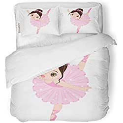 SanChic Duvet Cover Set Ballet Cute Little Ballerina Dancing Girl in Pink Decorative Bedding Set with Pillow Sham Twin Size
