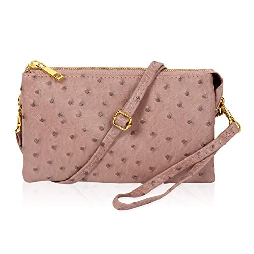Convertible Vegan Leather Wallet Purse Clutch - Small Handbag Phone/Card Slots & Detachable Wristlet/Shoulder/Crossbody Strap (Ostrich Embossed - Blush)