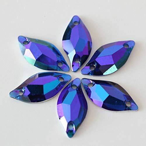 50Pcs 9x20MM Sew Rhinestones Flatback for DIY Craft-Crystal Gems Acrylic Flatback Sew On Diamante Rhinestones-Sew On Fhinestones-Leaf Rhinestones for Craft-Sew On Rhinestones Flatback (Sapphire)