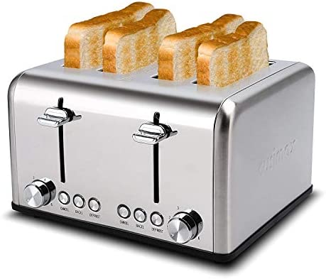 Toaster 4 Slice, CUSIMAX Stainless Steel Toaster, Bread Toasters 4 Extra Wide Slot with Bagel/Defrost/Cancle Function,6 Shade Settings with Removable Crumb Tray