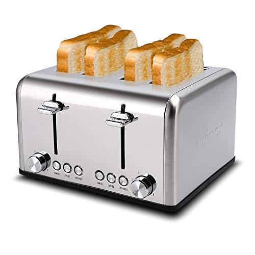 Toaster 4 Slice, CUSIMAX Stainless Steel Toaster, Bread Toasters 4 Extra Wide Slot with Bagel/Defrost/Cancle Function,6…
