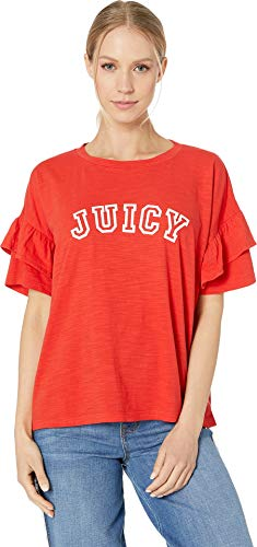 Juicy Couture Women's Juicy Logo Ruffle Sleeve Graphic Tee City Rouge ()