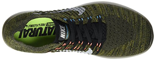 Nike Mens Free Rn Flyknit Cargo Kaki / Nero-blu Glow-bright Mango (13 D (m) Us)