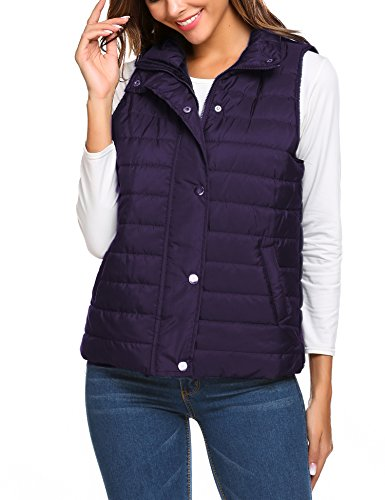 Beyove Women's Stand Collar Basic Solid Quilted Vest Jacket Coats Purple M… (Pu Solid Stand Collar)