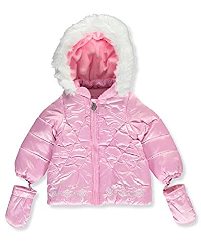London Fog Baby Girls Satin Quilted Puffer Coat with Cozy Trim Hood, Pink, 18M - Satin Puffer