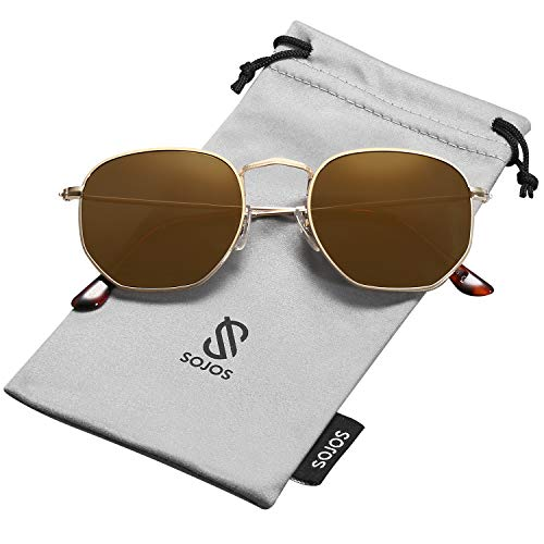 SOJOS Small Square Polarized Sunglasses for Men and Women Polygon Mirrored Lens SJ1072 with Gold Frame/Gold Mirrored Polarized ()