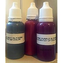 3 Soap Making Craft Colorants Pink Berry Red Bath Salt Lip Coloring Grey Liquid Dye 10 Ml