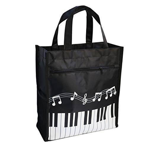 (Music Bag Handbag Waterproof Oxford Cloth Music Clef Piano Key Pattern For Learning Shopping Travel (Black 1 Pack))