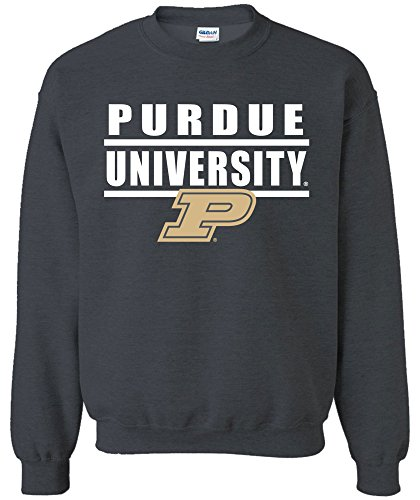 NCAA Purdue Boilermakers Adult Unisex NCAA Bars Logo Crewneck Sweatshirt,Medium,Dark Heather