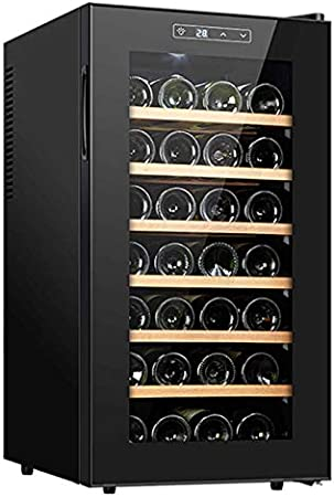 YUN Vinotecas,Inicio Termostato Vino Humectante Refrigerado por Aire 11 ° C - 18 ° C Temperatura De Almacenamiento Constante con Panel Táctil Y Pantalla LED 28 Bottles