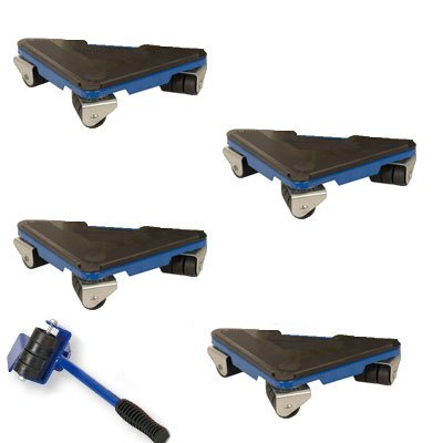 Artis - Juego de tacos con ruedas y palanca para mover muebles