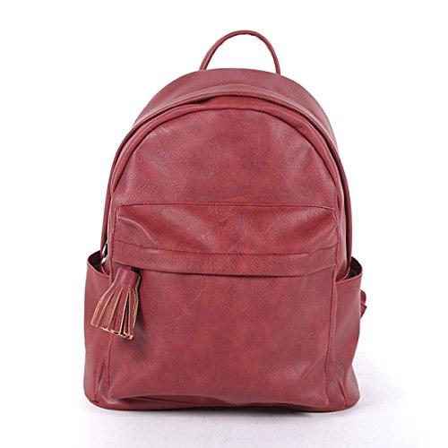 Bolso De La Escuela De Cuero Del Bolso De Hombro De La Manera De La Mochila De Las Señoras,PurpleGray Red