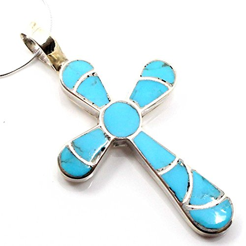 Sterling Channel Inlay - L7 Enterprises Channel Inlay Turquoise Cross Pendant by Johnson