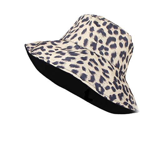 Women Sun Hat,Fineser Women Summer Leopard Print Foldable Wide Brim Sunshade Fisherman Hat Beach Cap (Black)]()