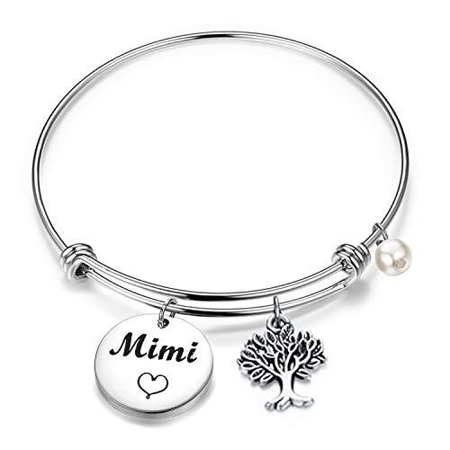 BEKECH Nana Bracelet Grandma Nana Charm Expandable Wire Bangle Nana Jewelry Grandmother Gift for Family Nana (Mimi Bangle Bracelet)
