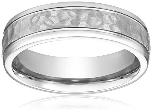 Men's Titanium 7mm Hammered Center Comfort Fit Round Edge Plain Wedding Band, Size 8.5