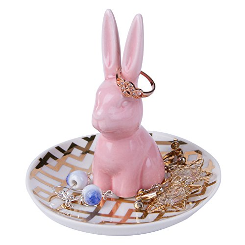 HOME SMILE Bunny Ring Holder Dish Engagament Wedding Trinket Tray Ceramic Rabbit Ring Holders for Jewelry,Birthday Gifts,Pink with Golden Stripes Dish