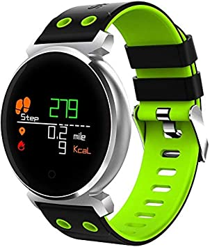 NBWE Pantalla Smart Watch K2 3D Pantalla a Color Pantalla Bluetooth Smart Watch, IP68 Impermeable, podómetro de Apoyo/Monitor de presión Arterial/Monitor de frecuencia cardíaca/Monitor de Sue Verde