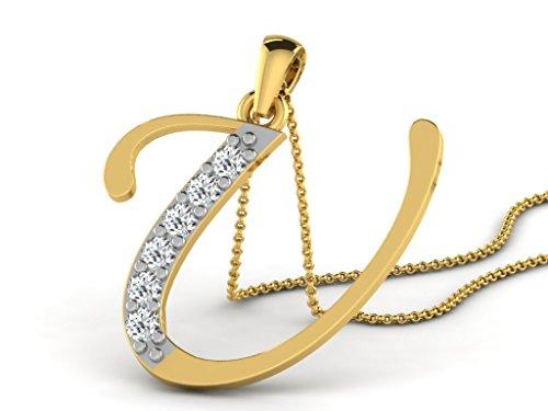 "Or Jaune 9 ct Pendentifs Diamant en forme de Alphabet ""U"", 0.13 Ct Diamant, GH-SI, 0.57 grammes."