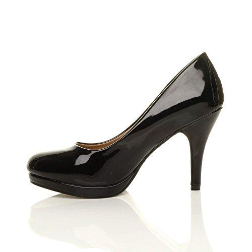 para vestir Zapatos Ajvani mujer Negro Satinado de SUtwxqwP