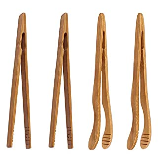 """4 pack Bamboo Toaster Tongs - 7"""" Reusable Wood Cooking Tongs -Ideal Kitchen Utensil For Cheese Bacon Muffin Fruits Bread- Ultra Grip - Eco-friendly"""