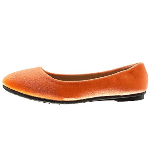 Angkorly - Scarpe da Moda ballerina slip-on donna Tacco tacco piatto 1 CM - Arancione