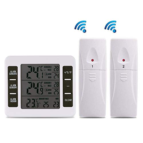 (【Upgraded Version】Esnow Refrigerator Thermometer Wireless Digital Freezer Thermometer Digital Sensor with 2PCS Sensors Temperature Monitor and Audible Alarm for Indoor / Outdoor (Battery not Included) )