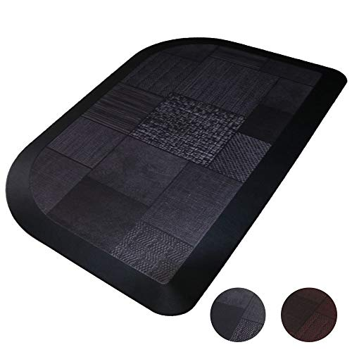 Butterfly Anti Fatigue Kitchen Floor Mat, 7/8 Inches Extra Thick Comfort Mat, Non-slip Bottom, Water Resistant, Durable Home Kitchen and Office Half Round Rug, 18x30 inches, Black Grey Pattern