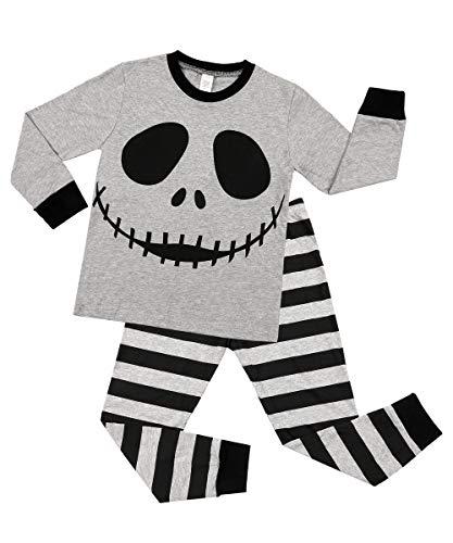 V FOR CITY Halloween Boys Pajamas Clothes Set Cotton Little Girls Kids Pjs Winter Sleepwear 4T Gray