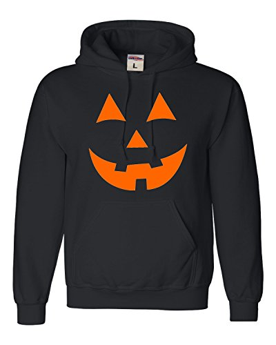 Large Black Adult Jack O Lantern Pumpkin Face Halloween Funny Sweatshirt Hoodie -