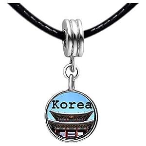 Chicforest Silver Plated Landmark Korea Temple Photo Red Zircon Crystal July Birthstone Flower dangle Charm Beads Bracelets Fits Pandora Charm