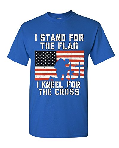 I Stand for The Flag I Kneel for The Cross T-Shirt Patriotic Military Royal Blue L