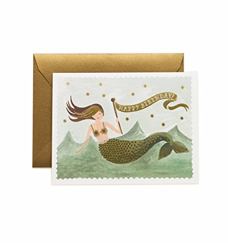 Vintage Mermaid Birthday Cards by Rifle Paper Co. -- Set of 8 Cards and Envelopes