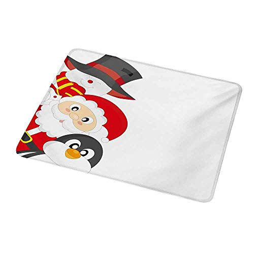Customized Gaming Mouse Christmas,Friendly Happy Santa Claus Penguin Snowman Festive Holiday Design,Charcoal Grey Red White,Non-Slip Personalized Rectangle Mouse pad 9.8
