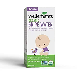 Wellements Organic Gripe Water, 4 Fl Oz, Eases Baby's Stomach Discomfort and Gas, Free From Dyes, Parabens, Preservatives