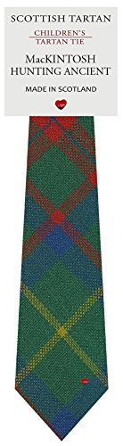 Boys Clan Tie All Wool Woven in Scotland MacKintosh Hunting Ancient Tartan